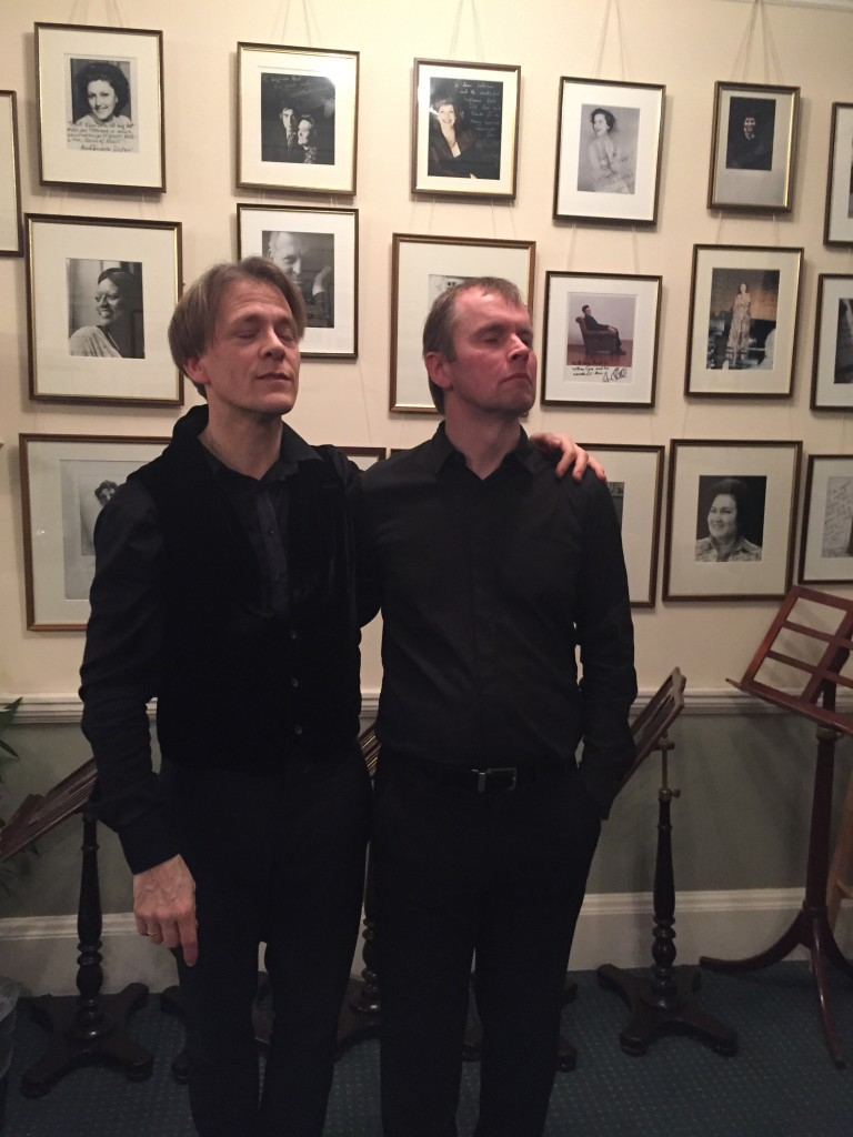 Sillyserious photo in the green room of London's Wigmore Hall after our recital with Steven Osborne