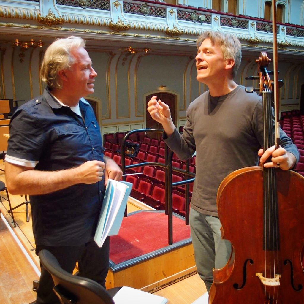 In intermission of rehearsal for the Chin Celloconcerto with Markus Stenz