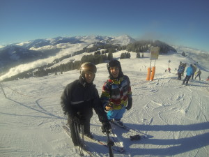 Skiing with my older son Janos in Brixen